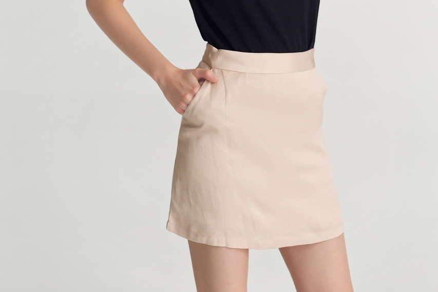 Crease Mini Skirt