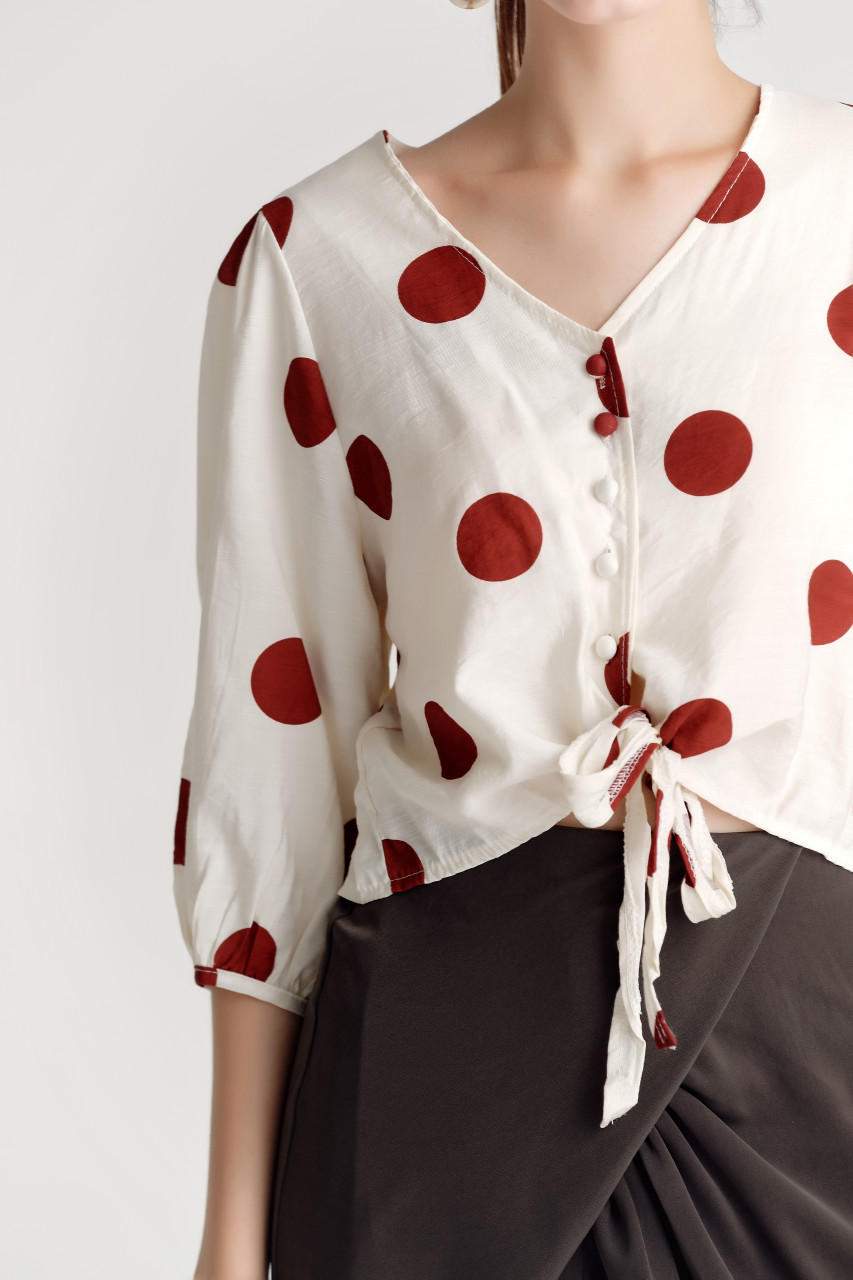 Dot V-neck Shirt