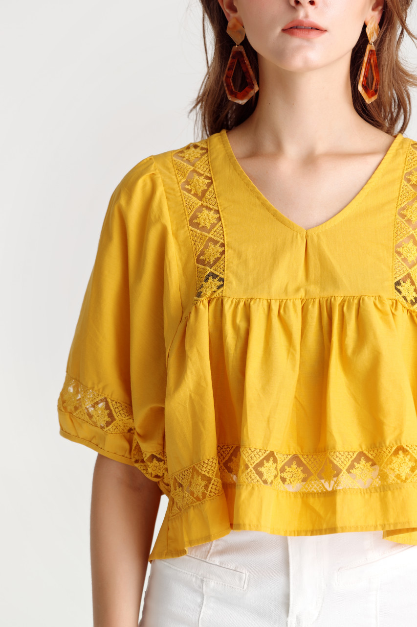 Lace-Trim Volume-Sleeve Top