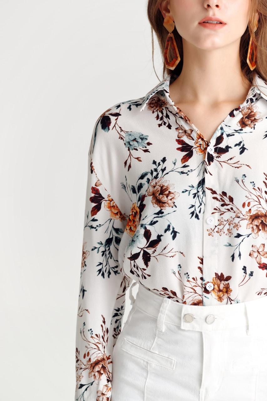 Flower Print Loose Fit Shirt