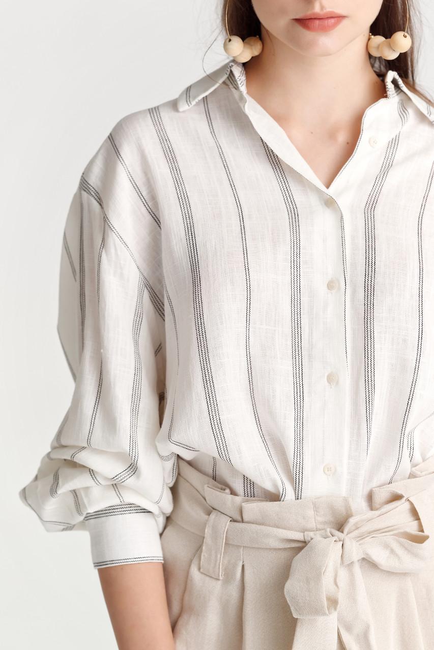 Linen like Stripe Shirt
