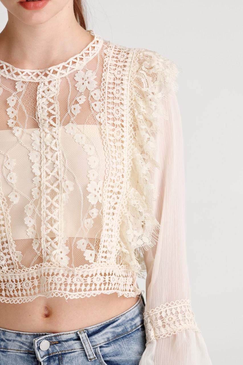 Chiffon Lace Crop Top