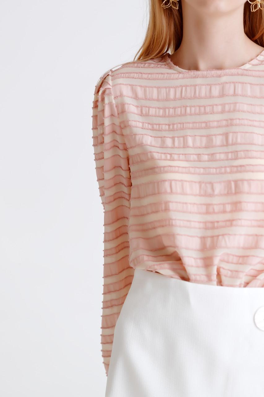 Jacquard Puff-Sleeve Top