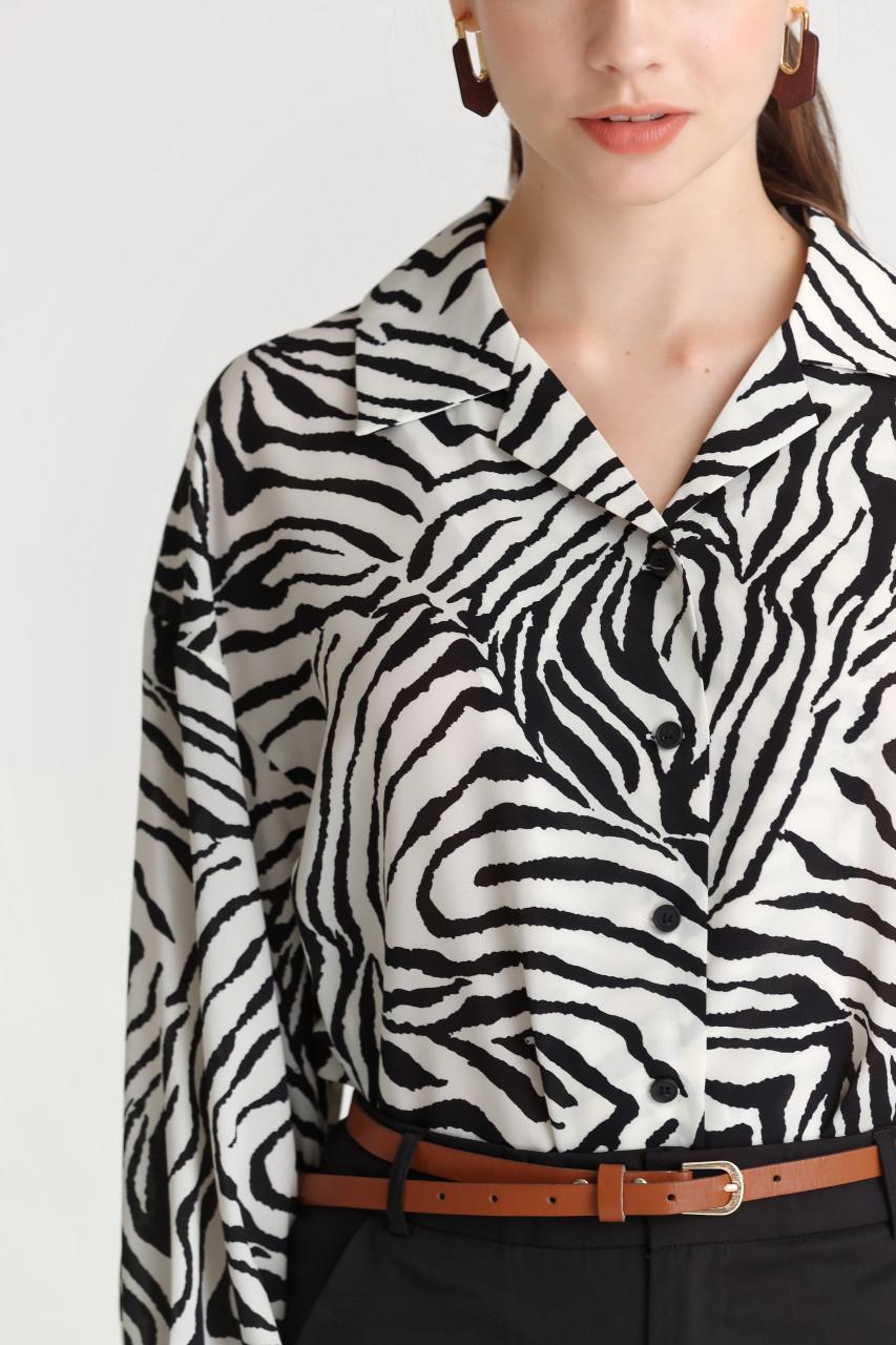 Zebra Print Loose-Fit Shirt
