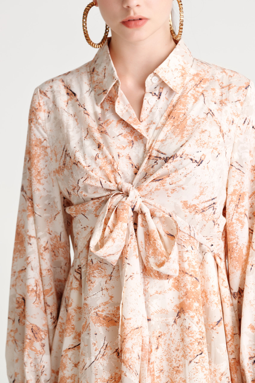 Abstract Print Tying Dress