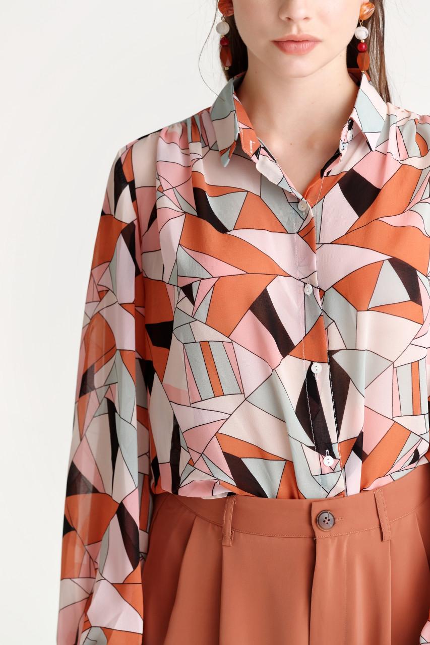 Chiffon Abstract Print Shirt