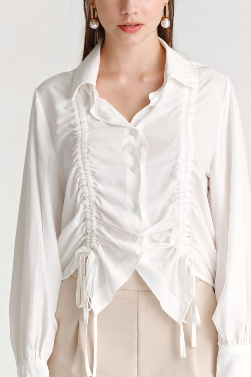 Shirring Volume-Sleeve Shirt