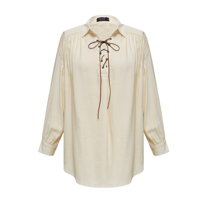 Loose-Fit Lace-up Shirt