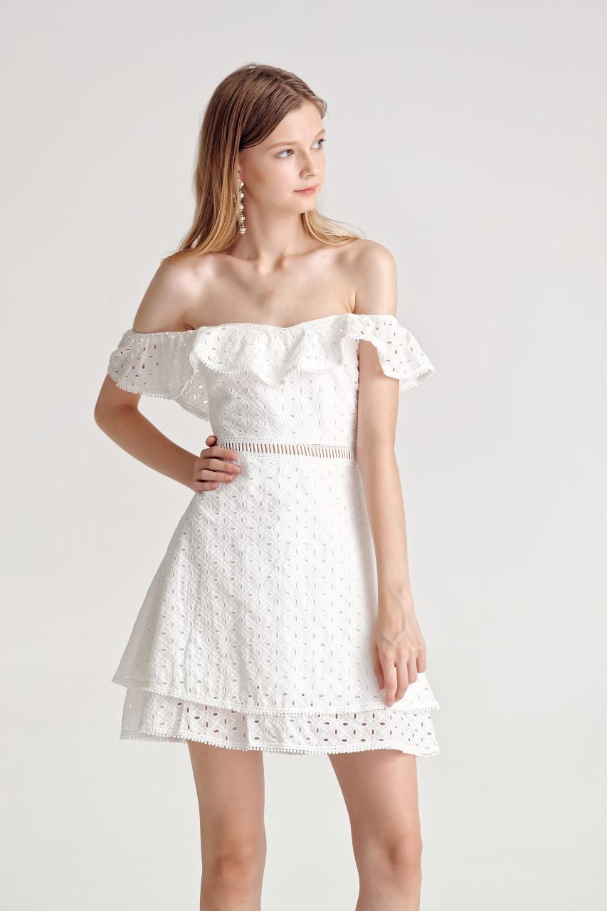 Eyelet Ruffled Dress