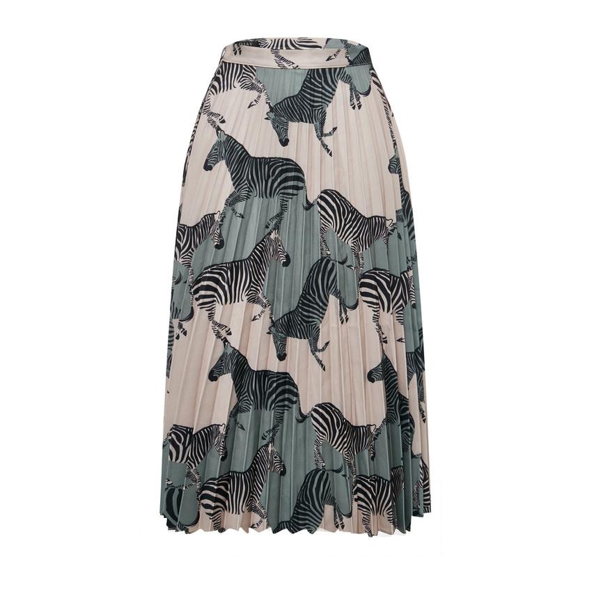 Zebra Print Pleats Skirt