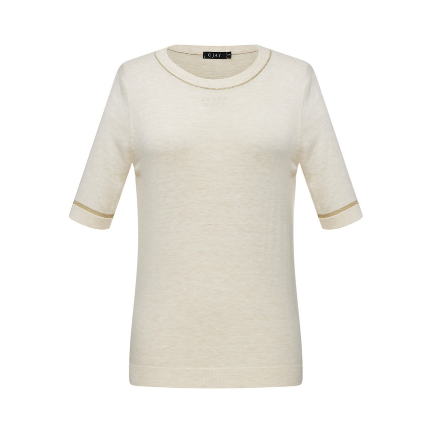 Gold-Line Short-Sleeve Knit Top