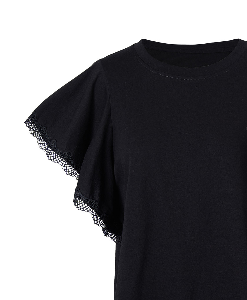 Lace-Trim Jersey Top (10279)