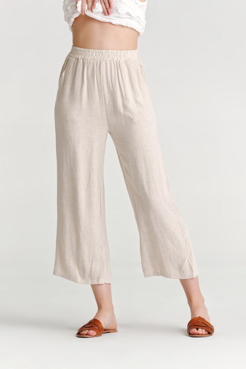Linen like Wide Leg Pants_10340