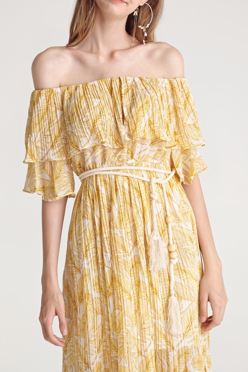 Leaf Print Pleats Dress(10240)