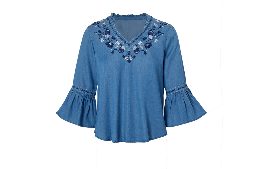 Denim Embroidery Top(10473)