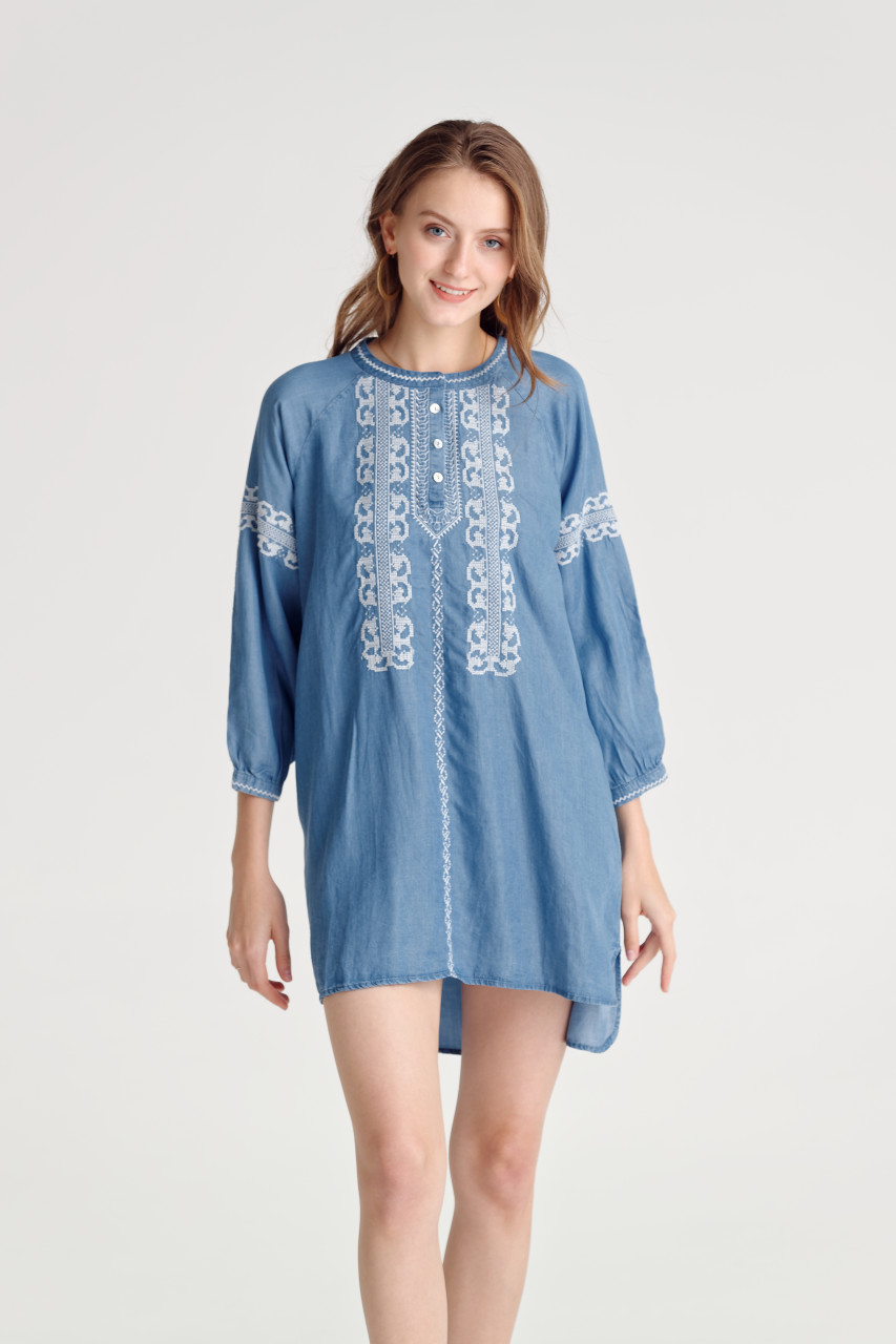 Denim Embroidery Top(10474)