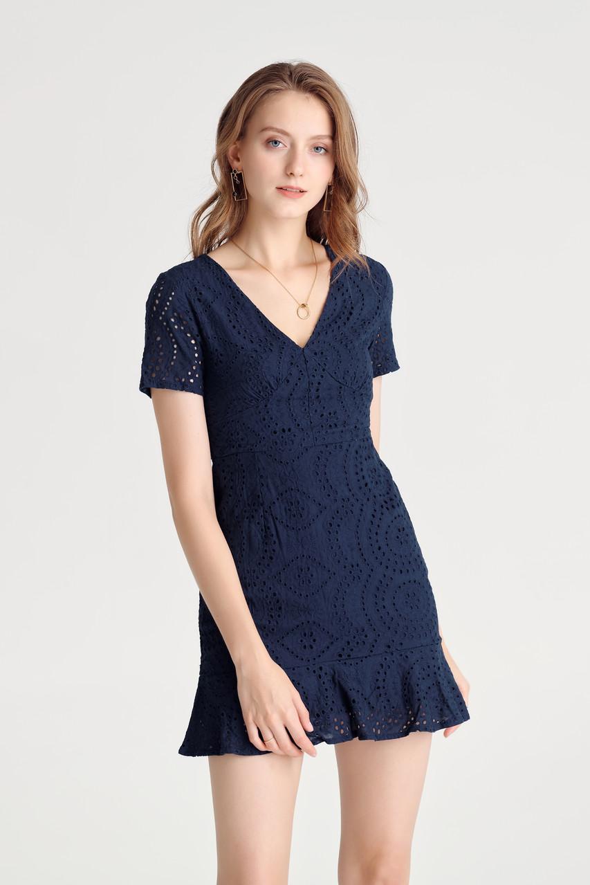 Eyelet Mini Dress(10534)