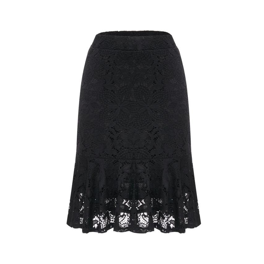 Godet elastic waistband skirt