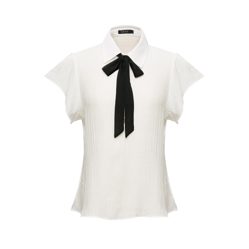 Solid Ribbon Short Sleeve Top