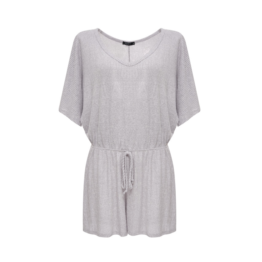 V Neck Cashmere Feel Short Sleeve Playsuit