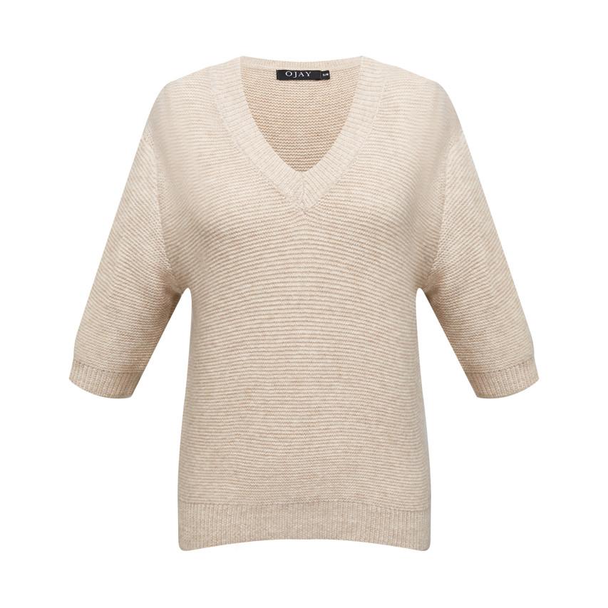 V neck half sleeve knit top