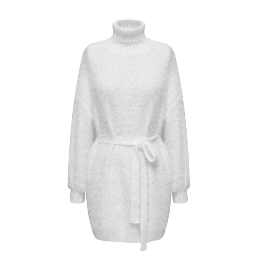 Turtle neck fluffy knit dress