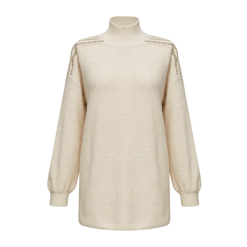 High neck sequin shoulder knit top