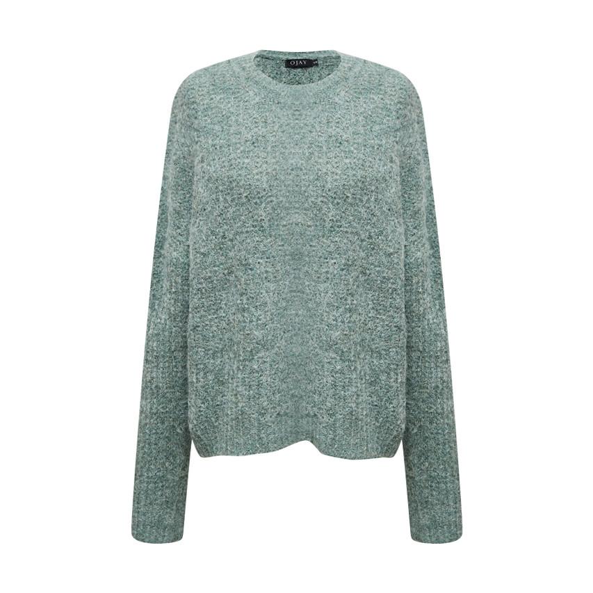 Boat neck drop shoulder knit top