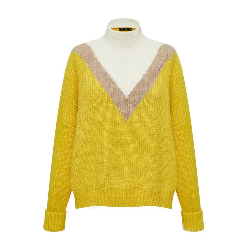 High neck drop shoulder knit top