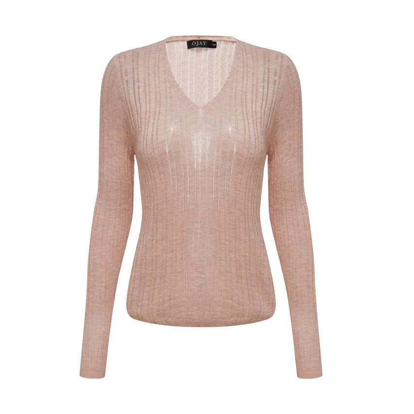 V neck loose fit knit top