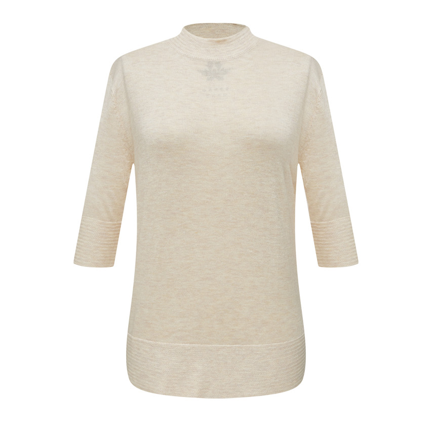 Round neck knee length loose fit knit top