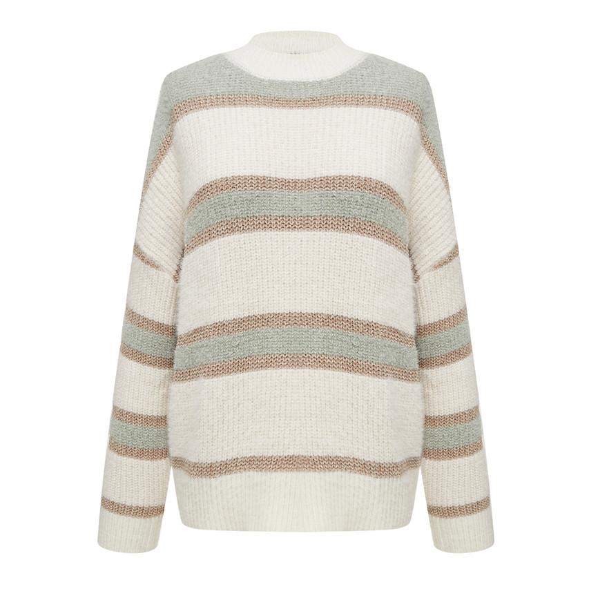 Vintage round neck striped knit top