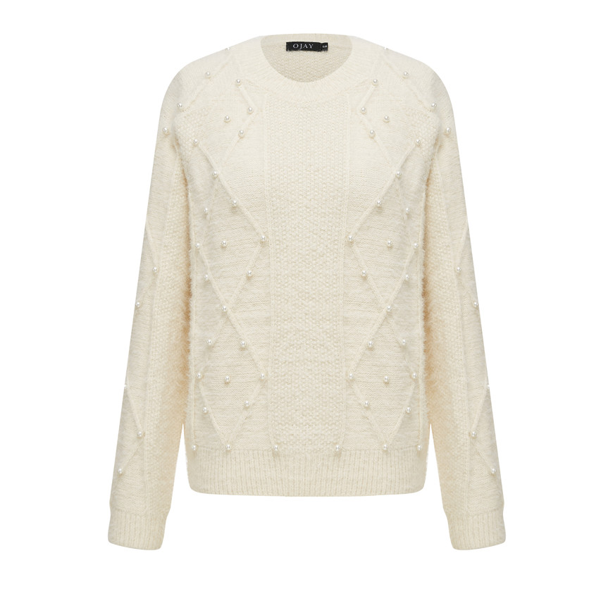 Pearl beaded relaxed round neck knit top