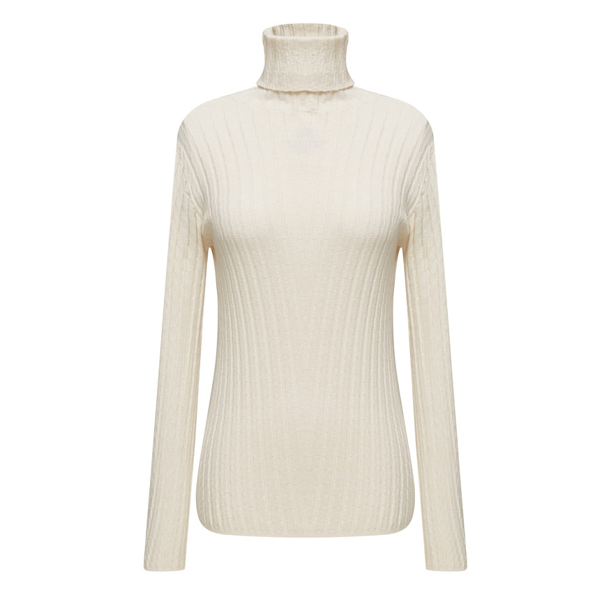 Turtle neck fitted casual knit top