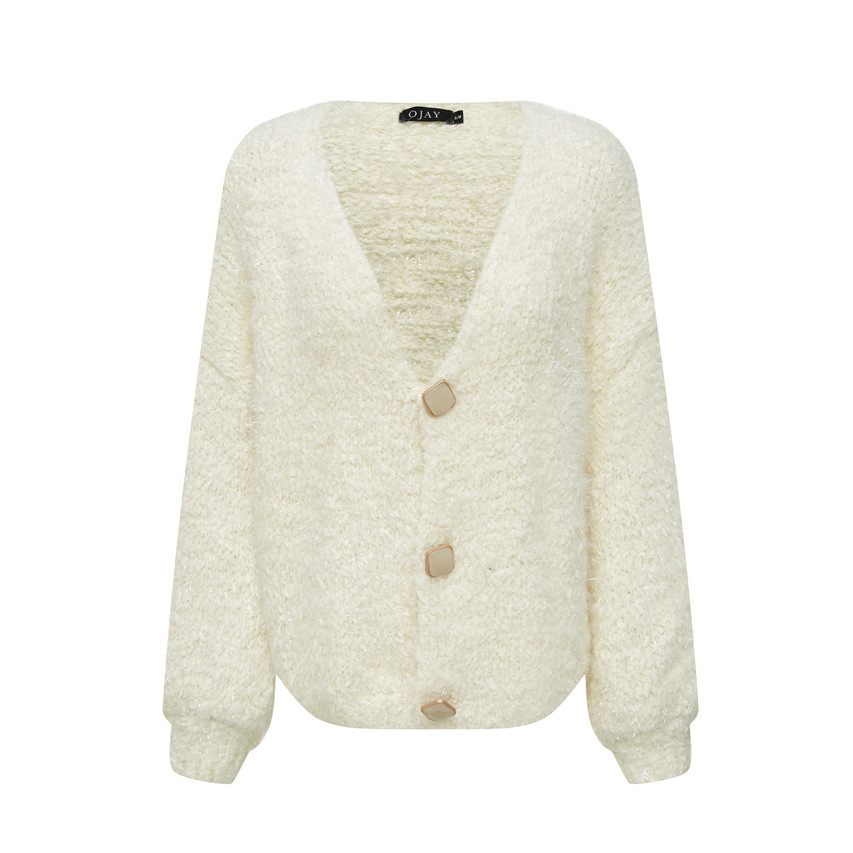 Glitter fine knit fluffy cardigan with beads buttons