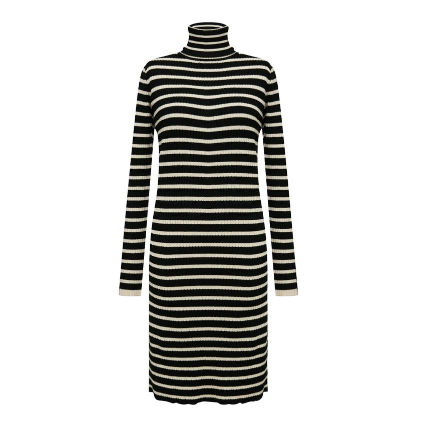 Turtle neck  striped long knit dress