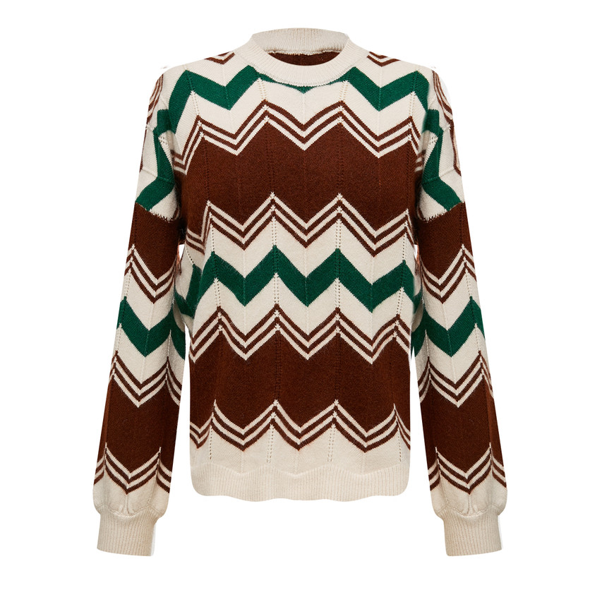 Zig zag striped casual knit top