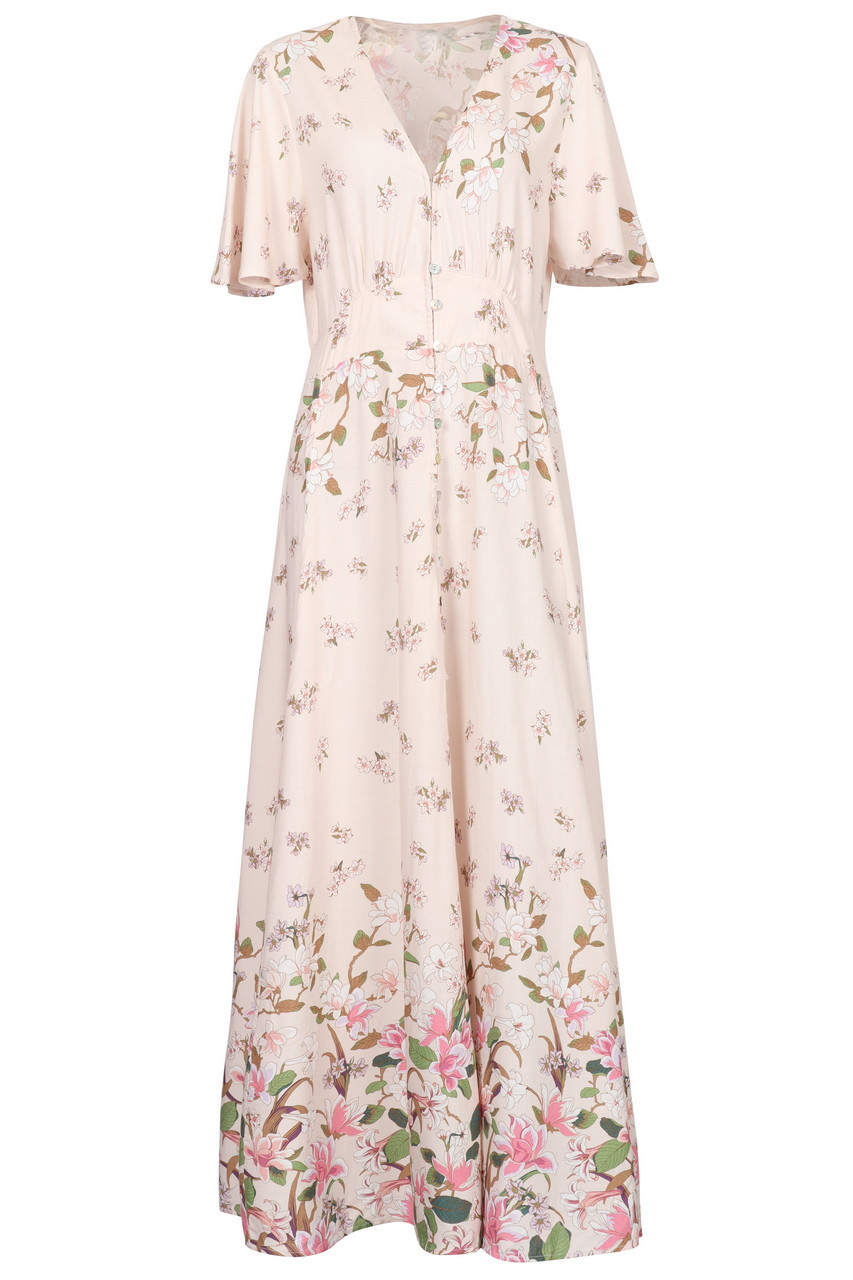 Casual Boho Floral print Wing sleeve Maxi Dress