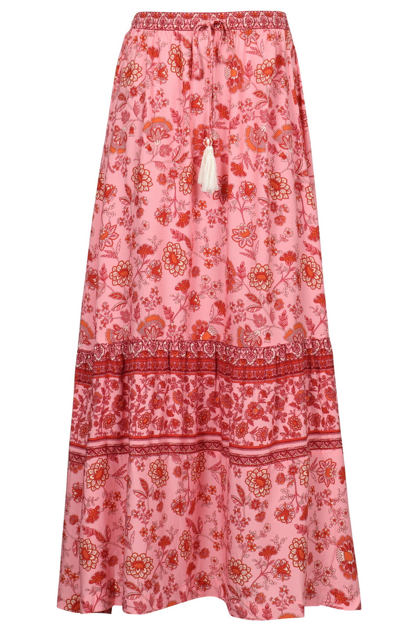 Casual Boho Pink Floral print Maxi Skirt with Slit