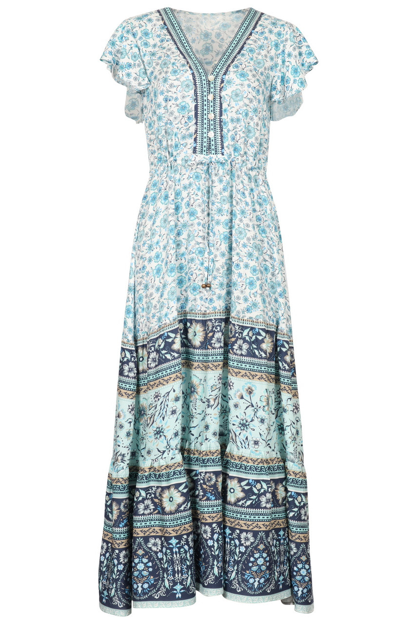 Tiered Casual Boho print Maxi dress