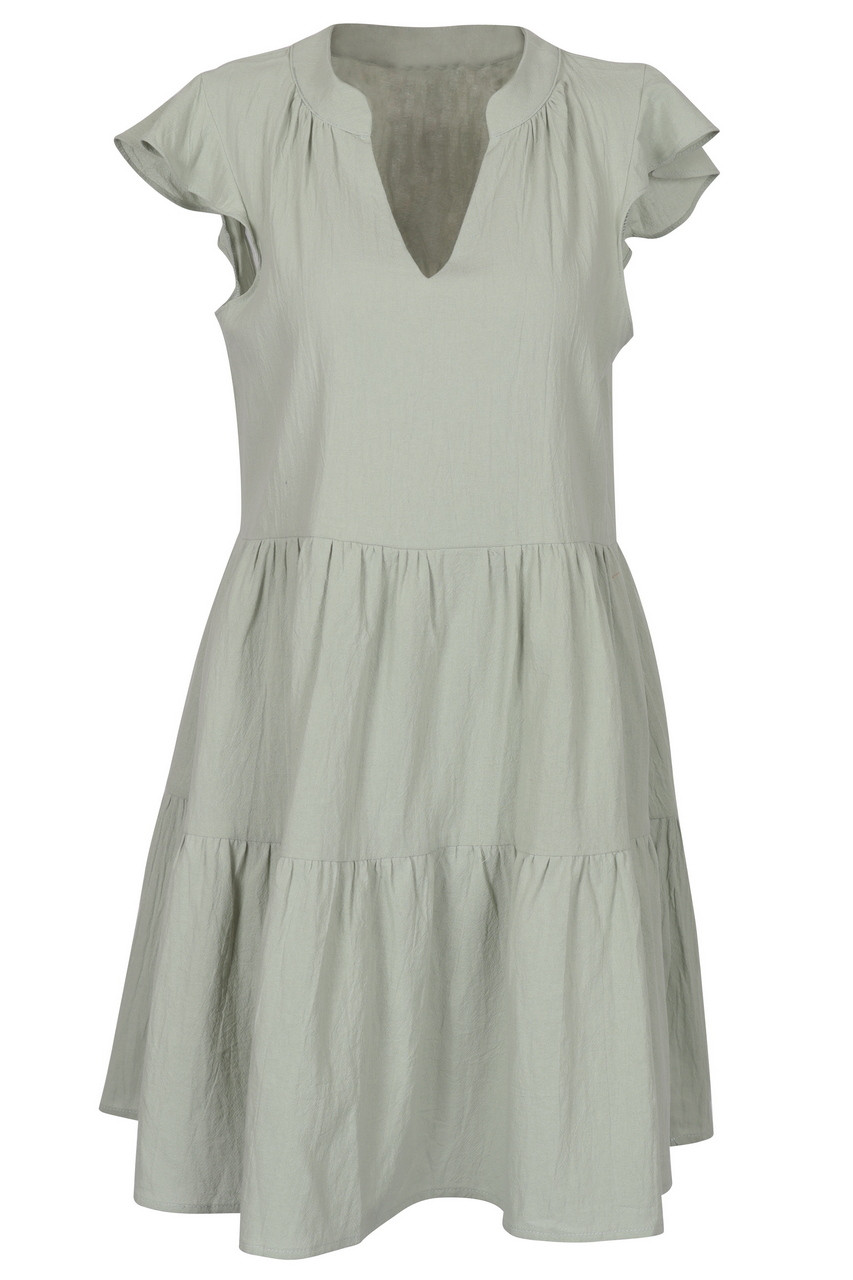 Tiered linen touch mini dress