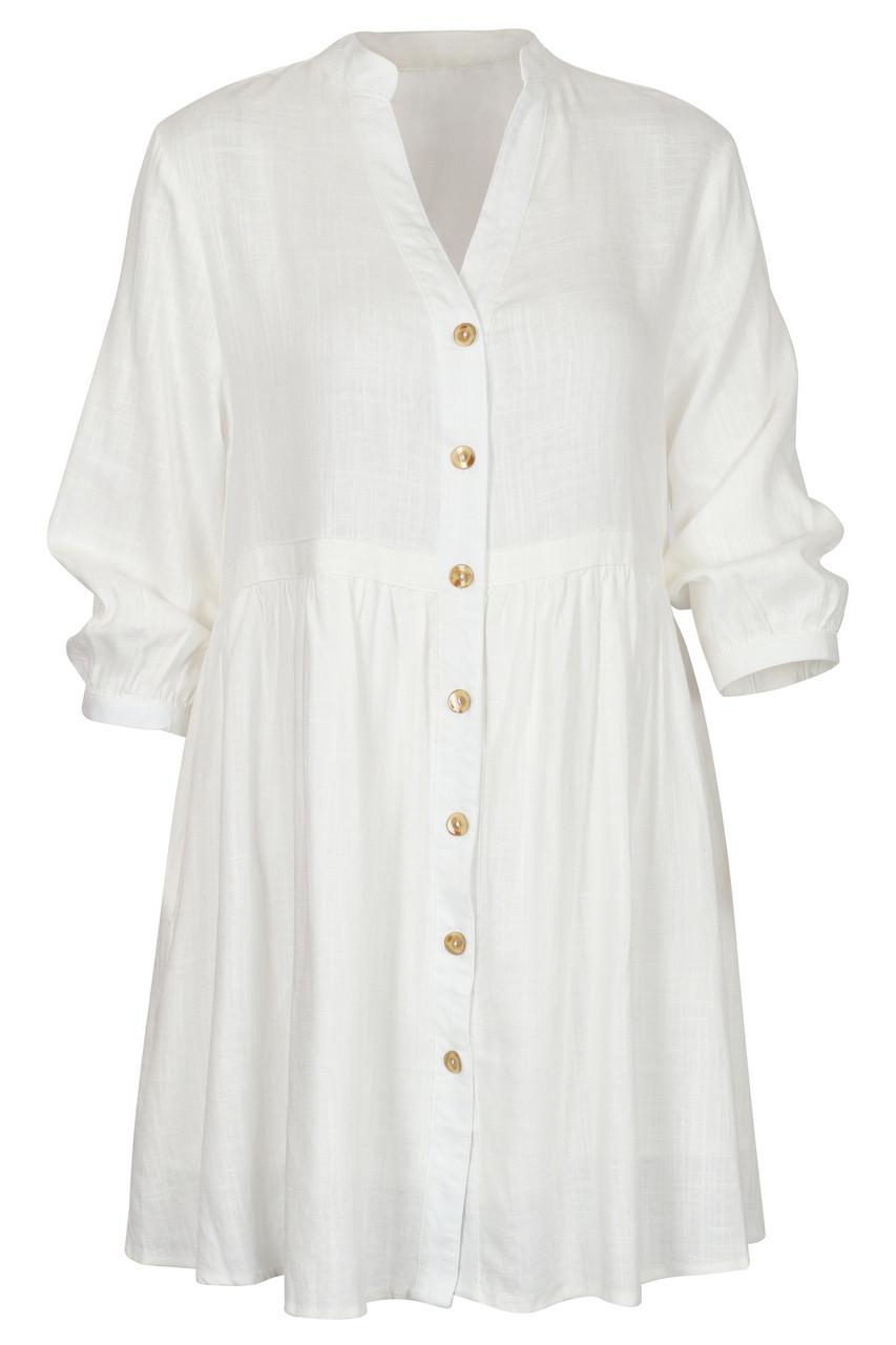 Button front linen midi dress