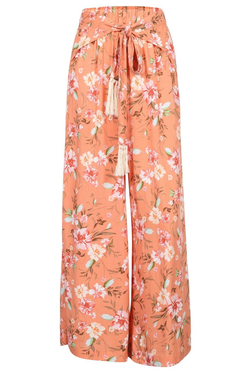 Wrap front floral wide leg pants
