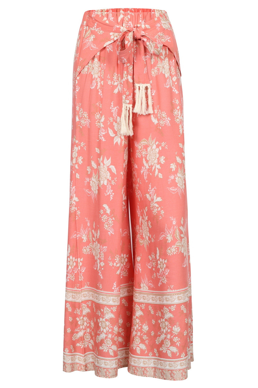 Tie front Casual Boho wide leg pants