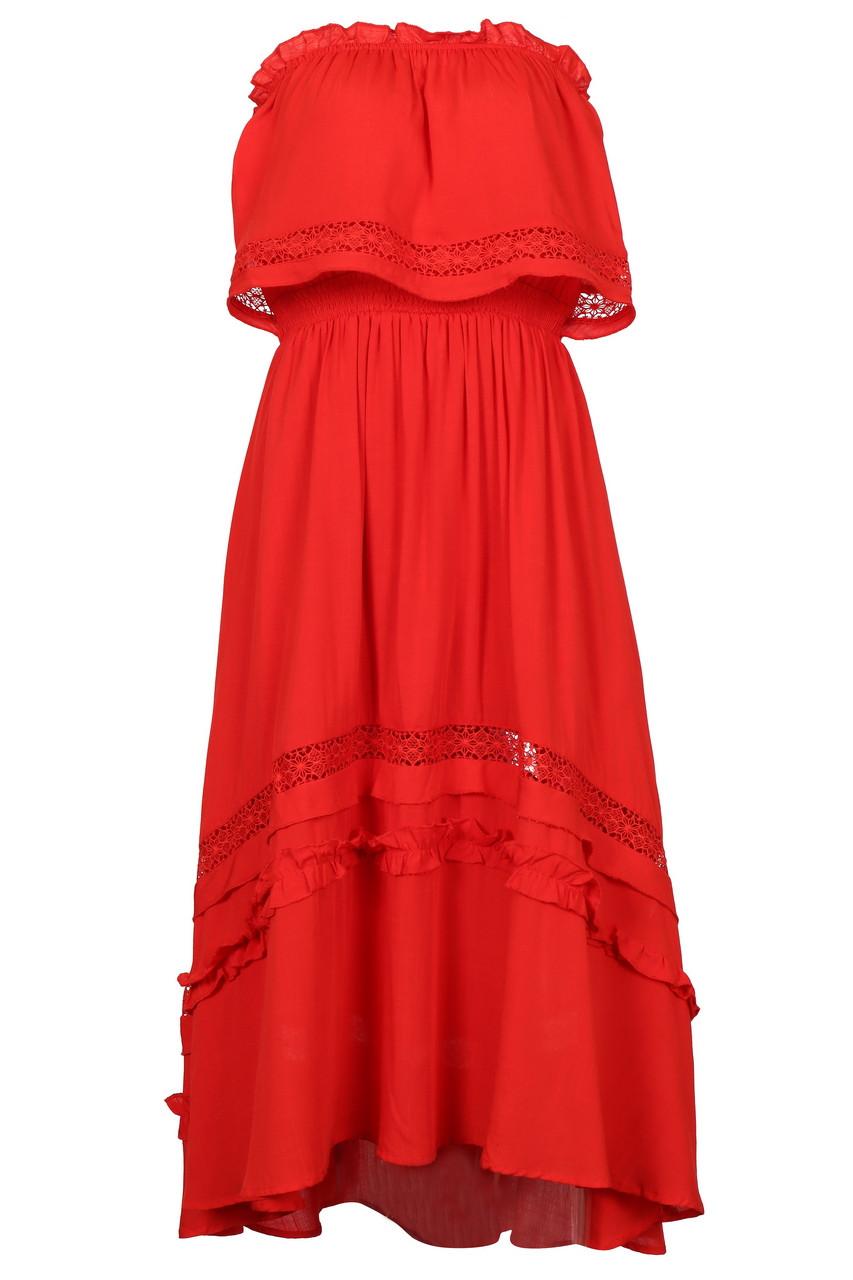 Red boob tube dress