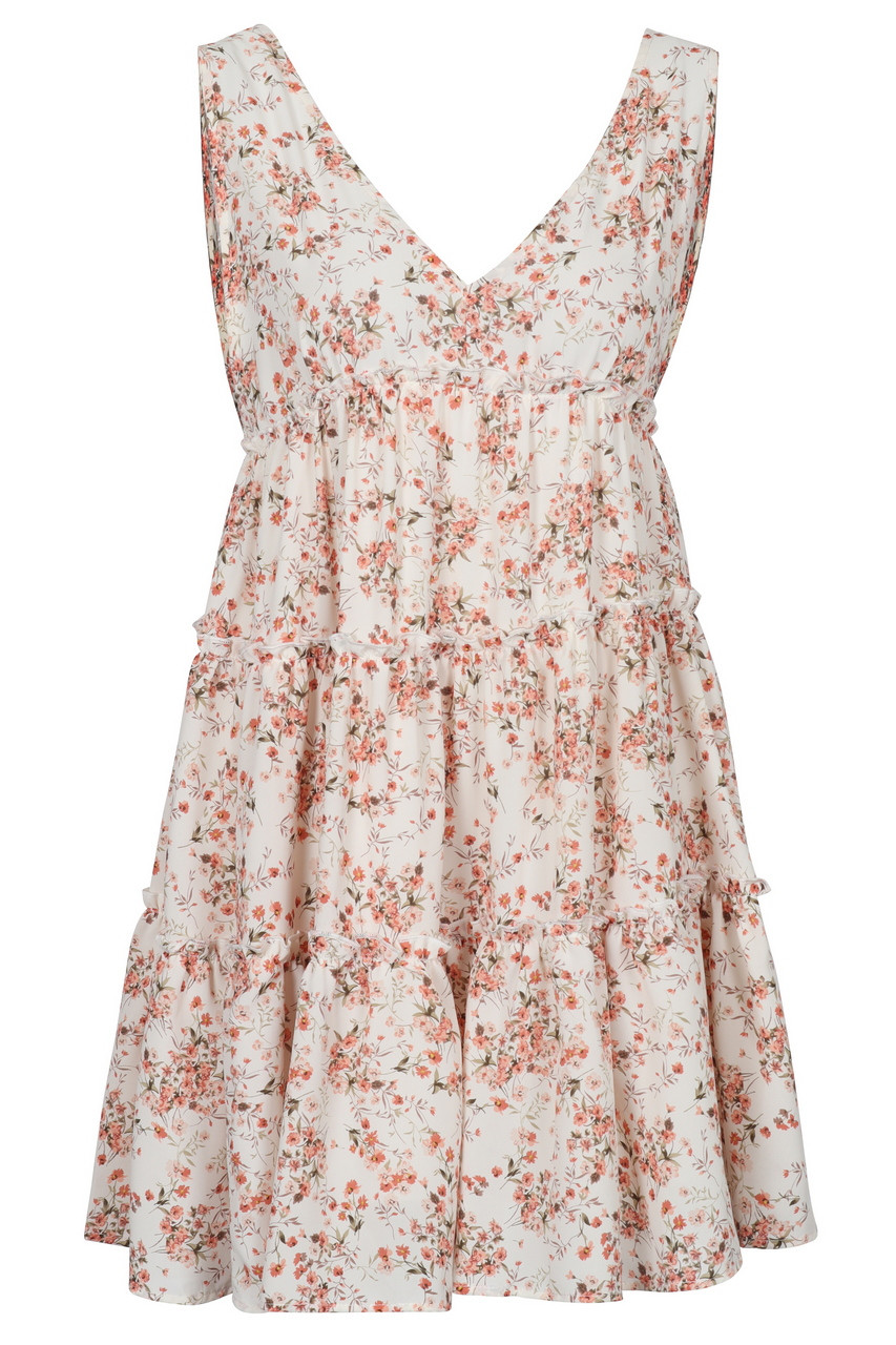 Floral tiered deep v-neck mini dress