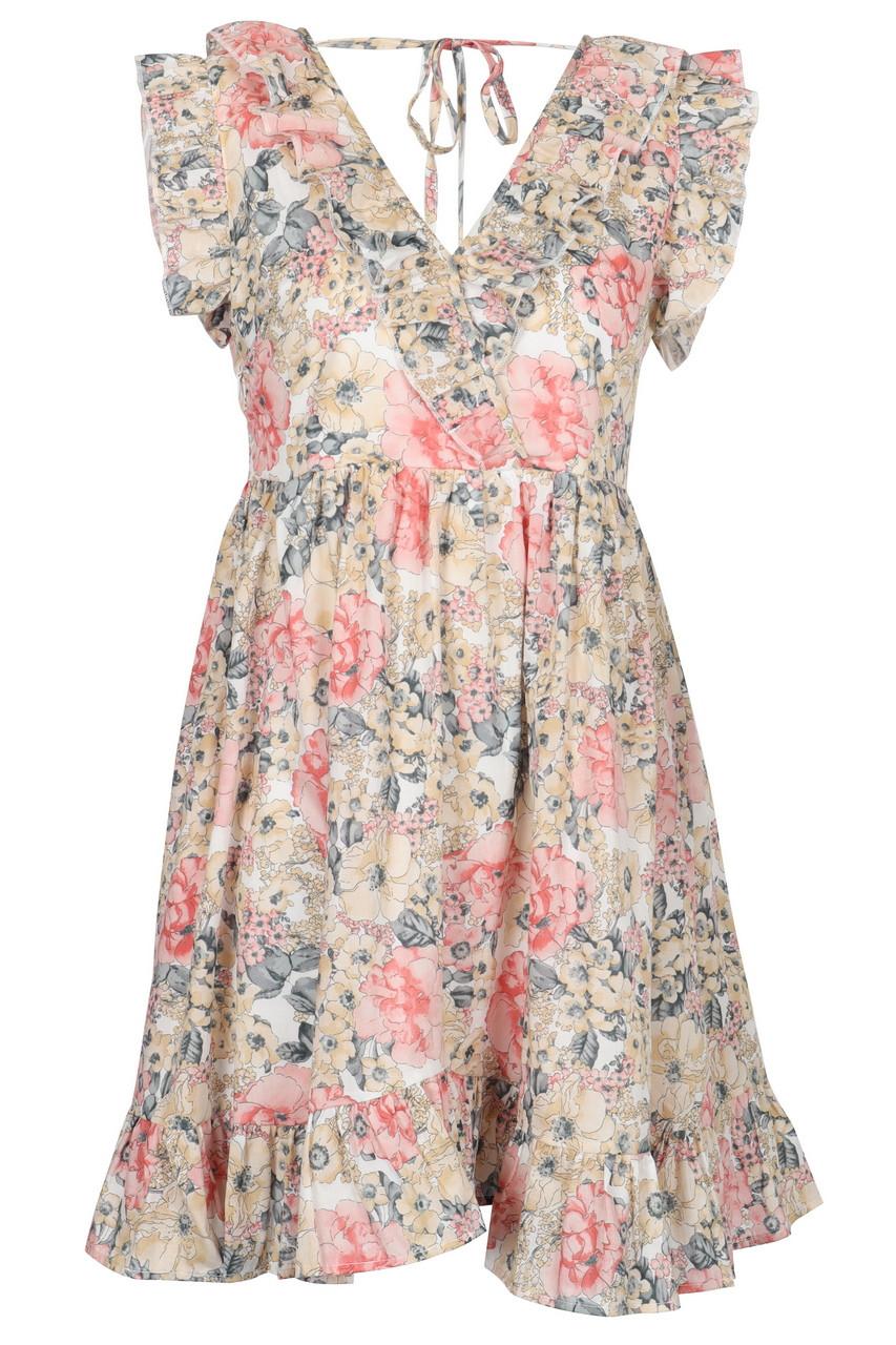 Floral print ruffle hem mini dress