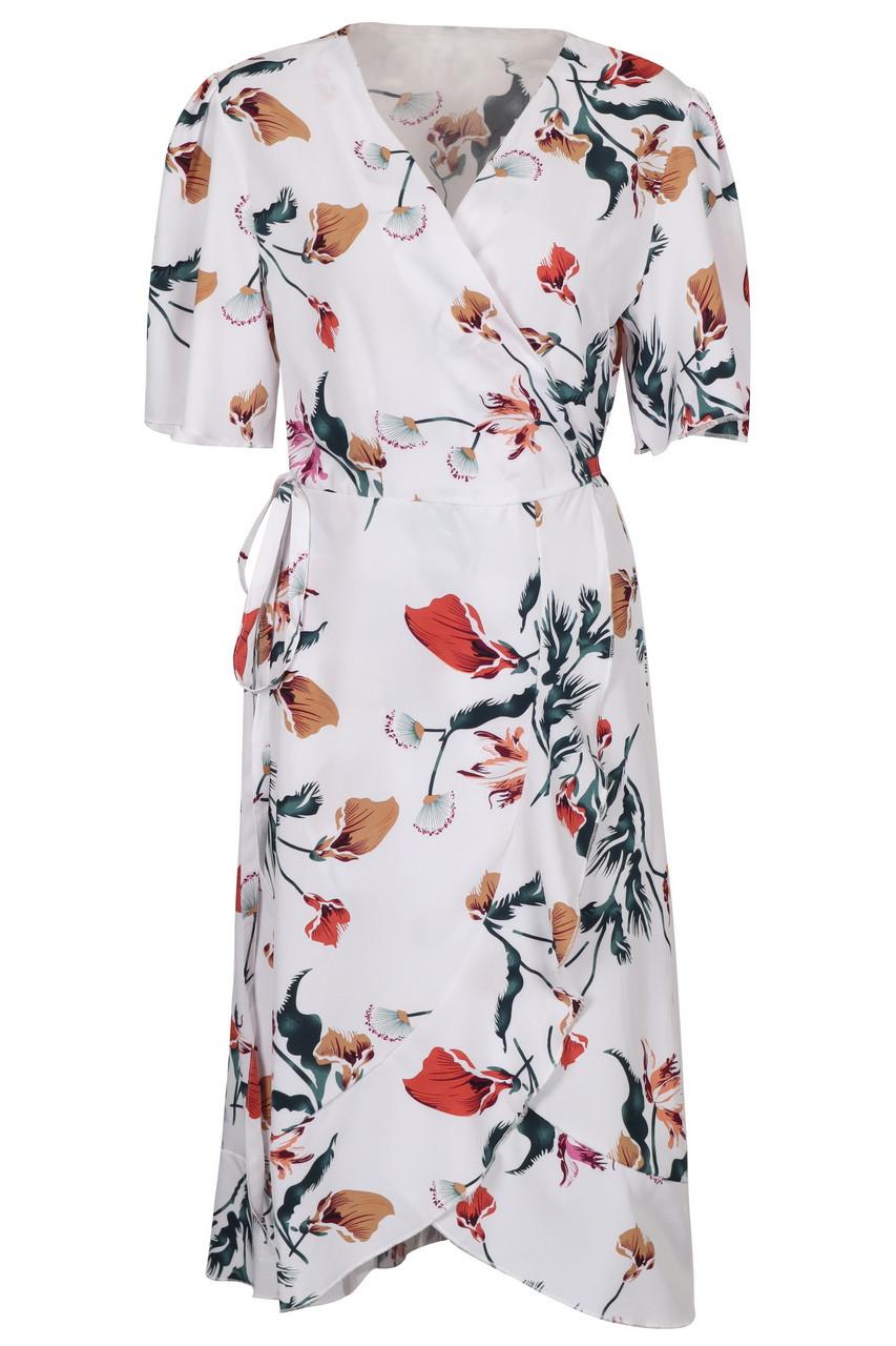 Flower print wrap midi dress