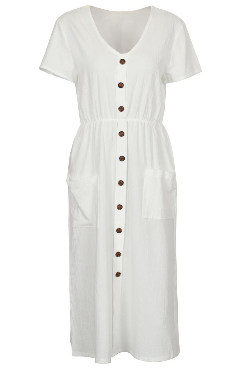 Linen front button midi dress