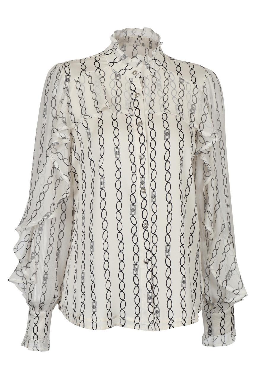 Satin ruffled high neck blouse